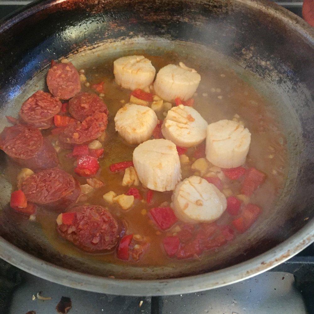 Rachel Redlaw scallops + chorizo