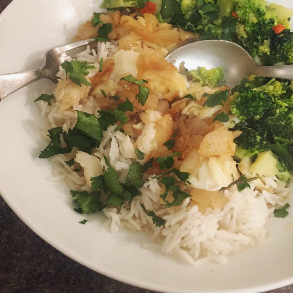 Rachel Redlaw the food healer fish with ginger and onions