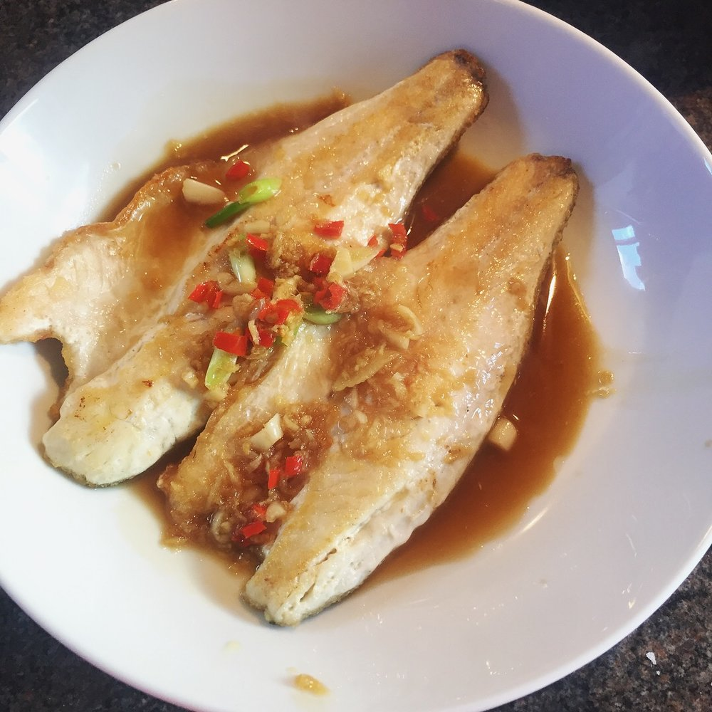Rachel Redlaw sea bass with a ginger, chilli, garlic sauce