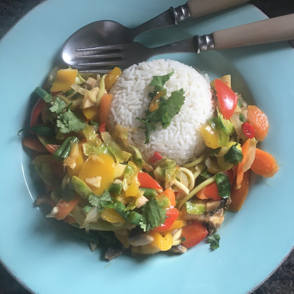 Rachel Redlaw Thai vegetable stir fry with ginger, chilli and lime