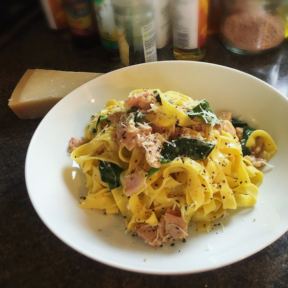 Rachel Redlaw bacon + egg carbonara