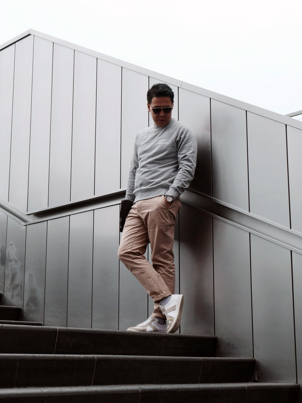 Classic French Terry Crew sweatshirt & Midweight Athletic Chino.