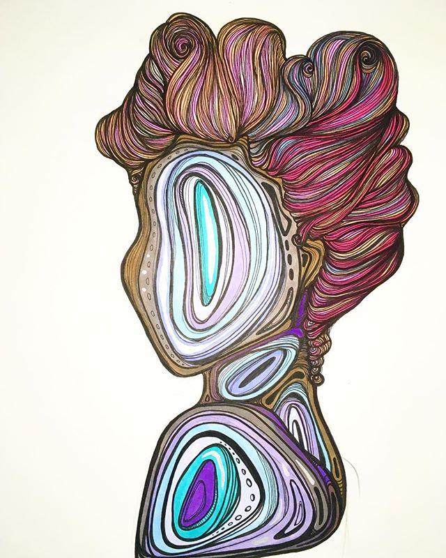 I'm way into this hair. #female #bighairladies #girlpower #women #illustration #art #ink #hair #mn