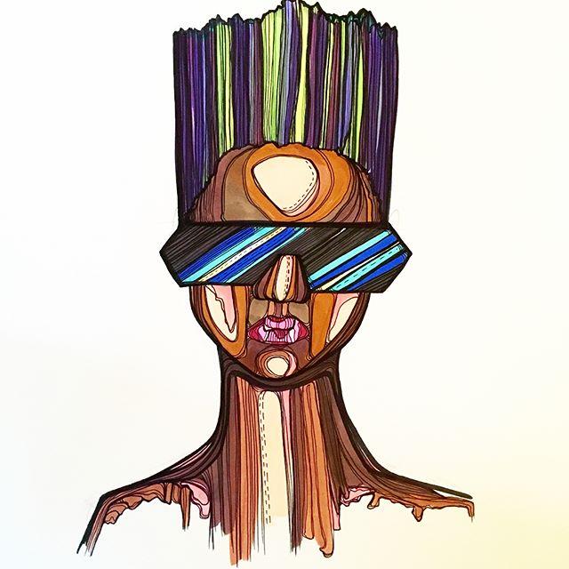 One of my favorites. #bighairladies #art #ink #illustration #sunglasses #terminator #bust