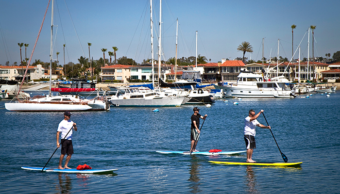 Paddle board in Balboa Island