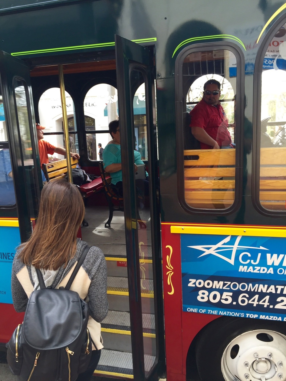 Boarding the Hop-On, Hop-Off Trolley