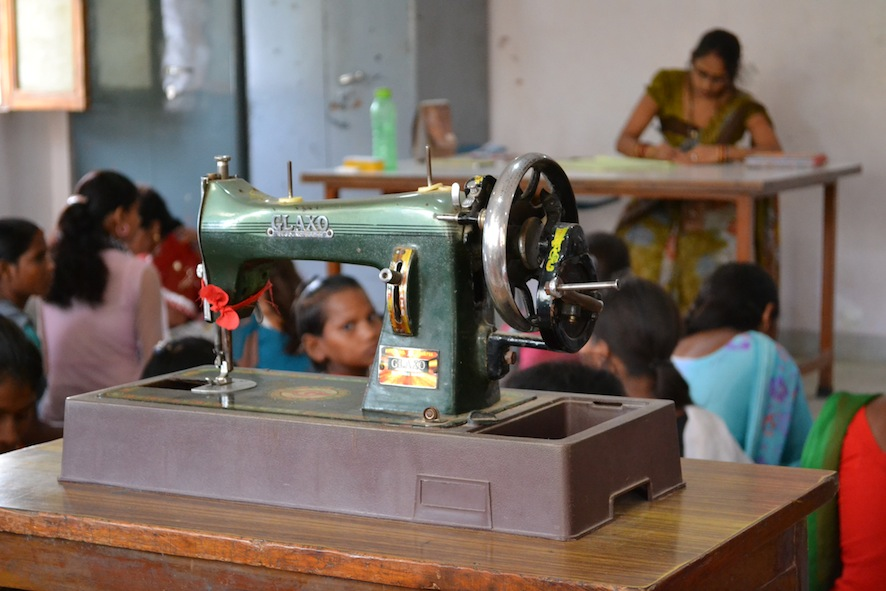 Sewing classes take place daily at the Punj Lloyd Bala Bhavan for local women.