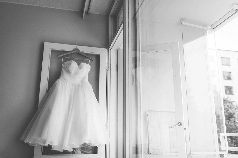 wedding dress hanging, door, balcony
