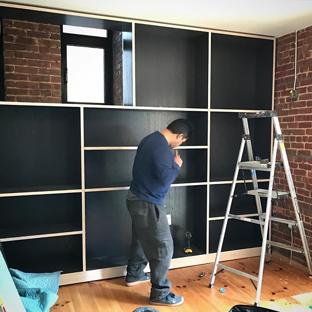 Millwork in being installed. #contrast #brooklyn #wood #workinprogress