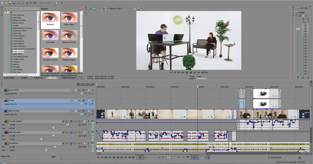 Here's what our editor sees once all the filming is done. Not only is there cutting and pasting of the footage, there's color-grading, audio sweetening, animation to add, a soundtrack to add, etc.