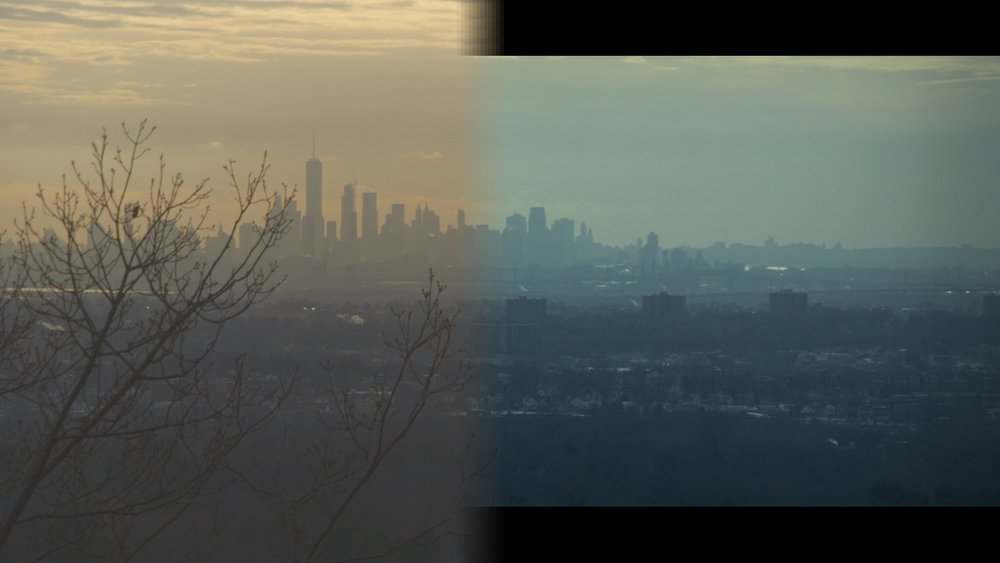 This is the same shot of the City skyline. On the left side is untreated video. It looks like a hazy, late afternoon. On the right, the picture makes the City look cleaner, lighter and more like a cool day. It's one example of how color is subtly used to steer an emotional suggestion.