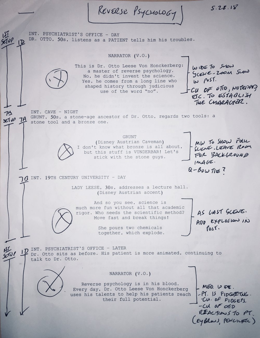 The ultimate guide to a good shoot - A script with notes, scribbles, thoughts and plans.