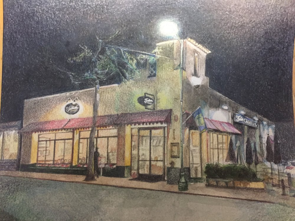Natalie Jeng's colored pencil depiction of Fenton's Creamery captures thenighttime vibe on Piedmont Ave.