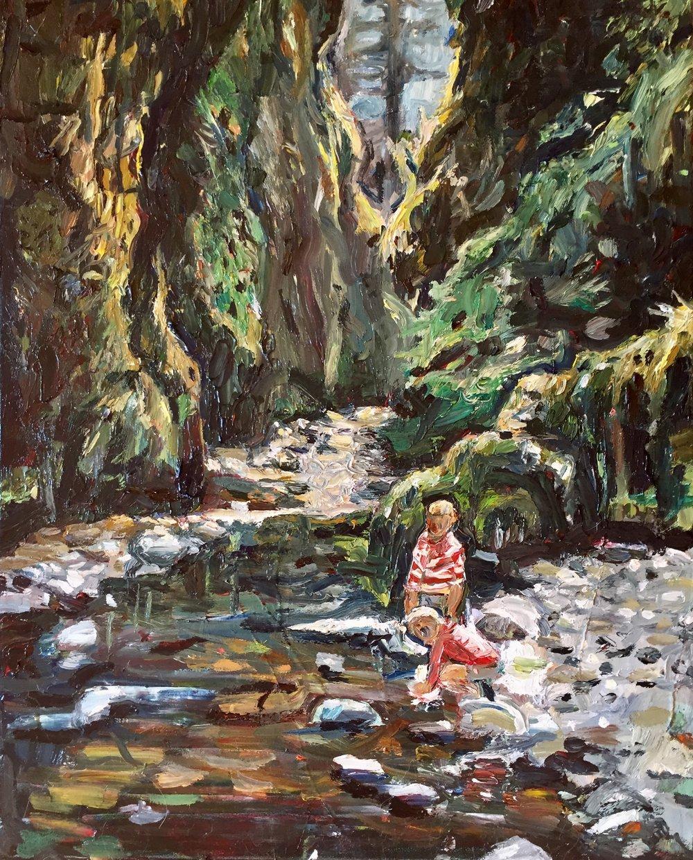 """Nostalgia: A Steep Ravine, Oil on Canvas, 18x24"""""""