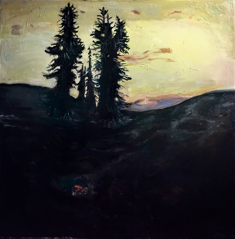 Painting by Joelle Provost: Fir Trees and Soda Pop
