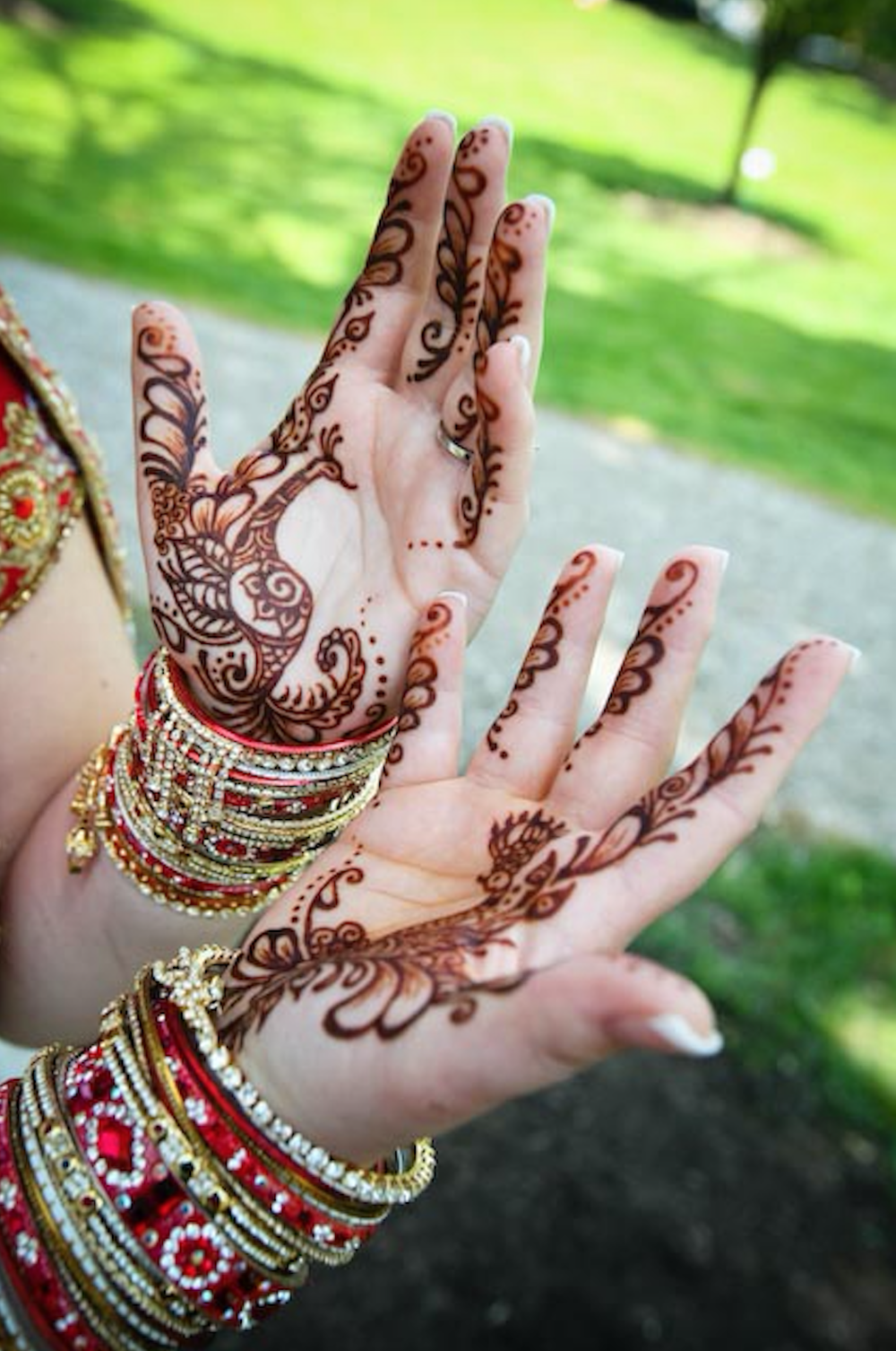 Simple bridal mehndi shows off how dark the color of henna can get on your palms. (Photo by Jim Sanders, Henna by Deborah Brommer)