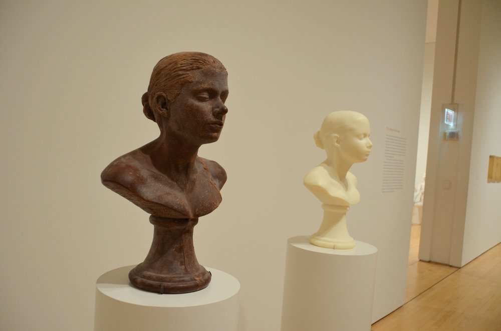 "Artist Janine Antoni's ""Lick and Lather"" sculpture features a chocolate bust of the artist (as well as one of soap); photo courtesy Flickr user KellyTheDeluded"
