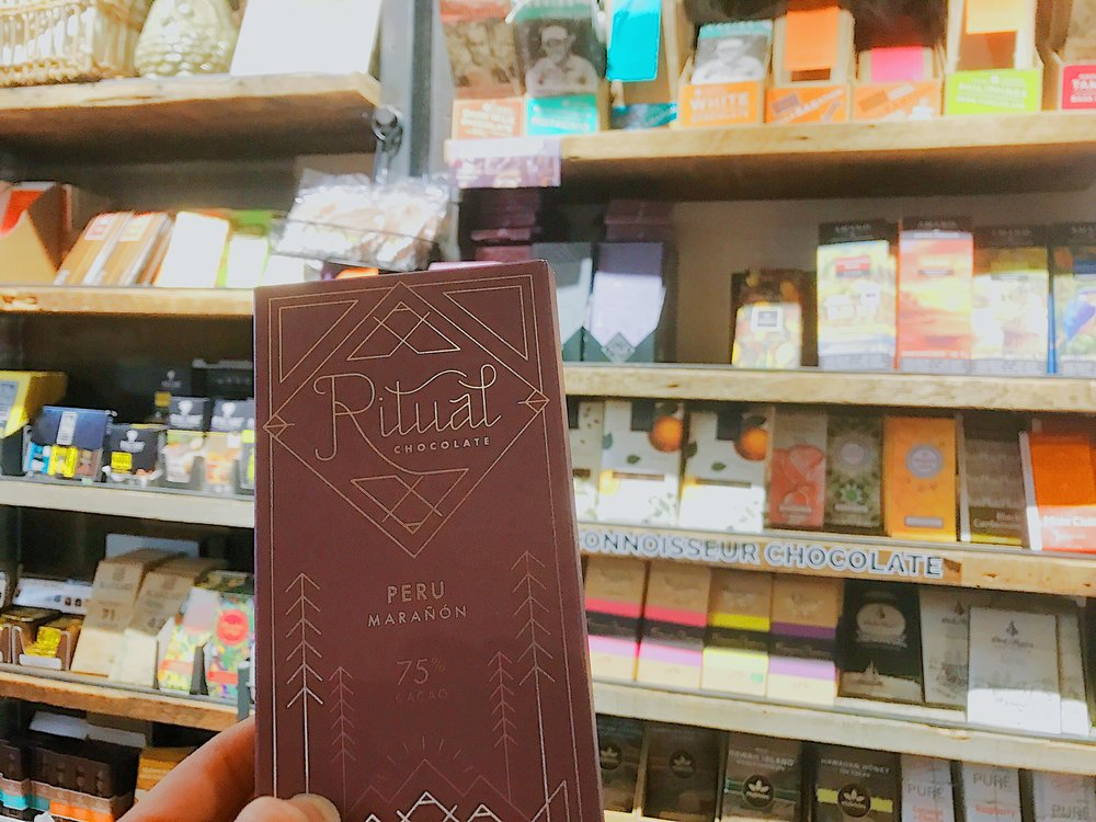 Now I'm off to replenish my chocolate stash at Chelsea Market Baskets, which has an impressive selection of hard-to-find brands. I'm loading up on Ritual Chocolate and Amano Chocolate, two of the best makers in the country.