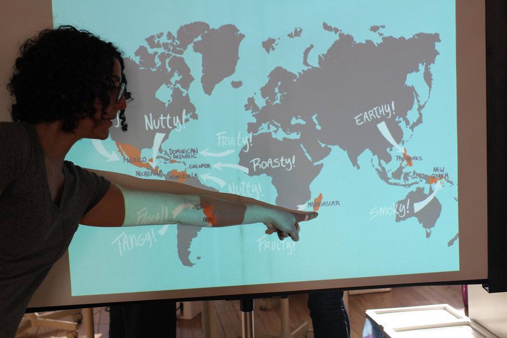 Me pointing out Madagascar on the map, because we tasted Ritual's single-origin Madagascar bar