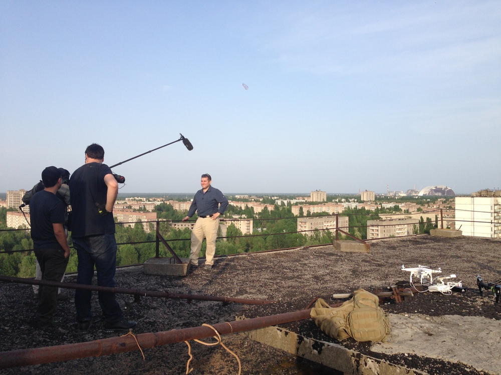 Interview with DJI on the roof of the Fujiyama apartment building in Pripyat.
