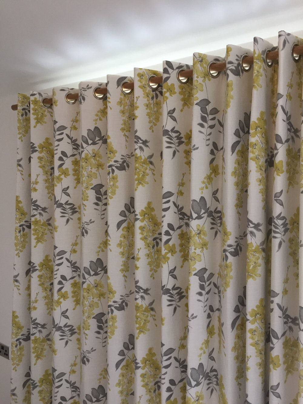 Sanderson fabric, blackout lined eyelet curtains