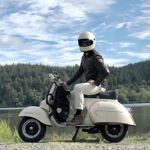 Epic Vespa road trip today! Seattle ➡️🛵San Juan Island. #vespa #vespagl #vesparoadtrip #vintagevespa #biltwellgringo