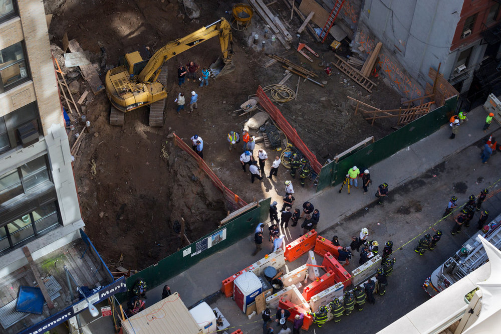 The accident site on West 37th Street, where a hotel is under construction. The builders had been cited for violations on other projects.