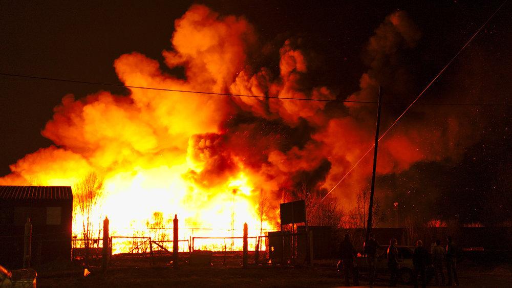 Devastating warehouse fire
