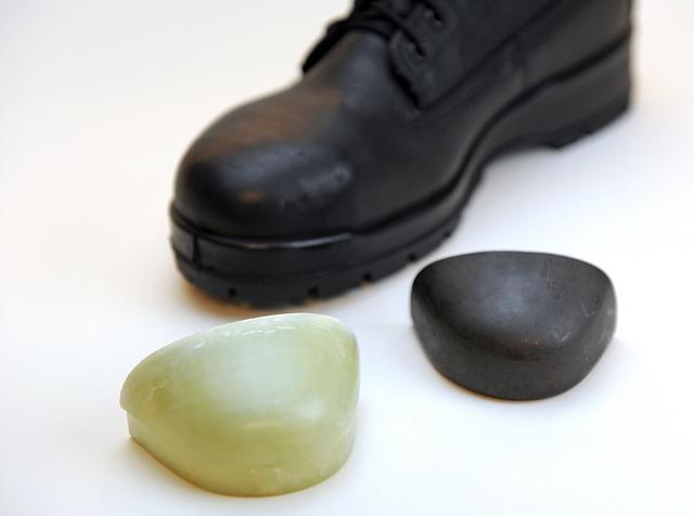 Example of steel toe versus composite toe.