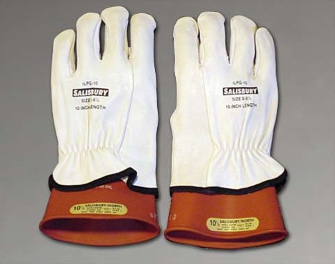 Gloves designed for electrical protection. Note the rubber inserts are rated for a specific level of electrical voltage. Leather outer gloves are designed to protect the rubber inserts.