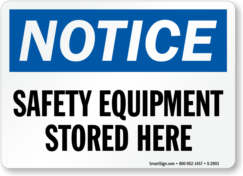 Safety Equipment Stored Here Blue Notice Sign.png
