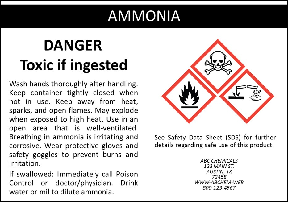 Sample OSHA & GHS Label