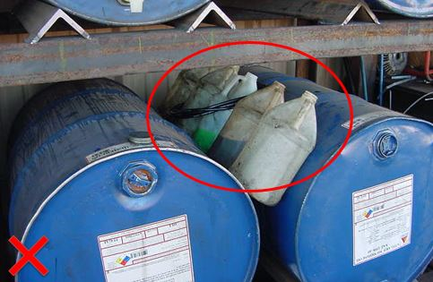 Examples of un-labeled containers stored improperly.