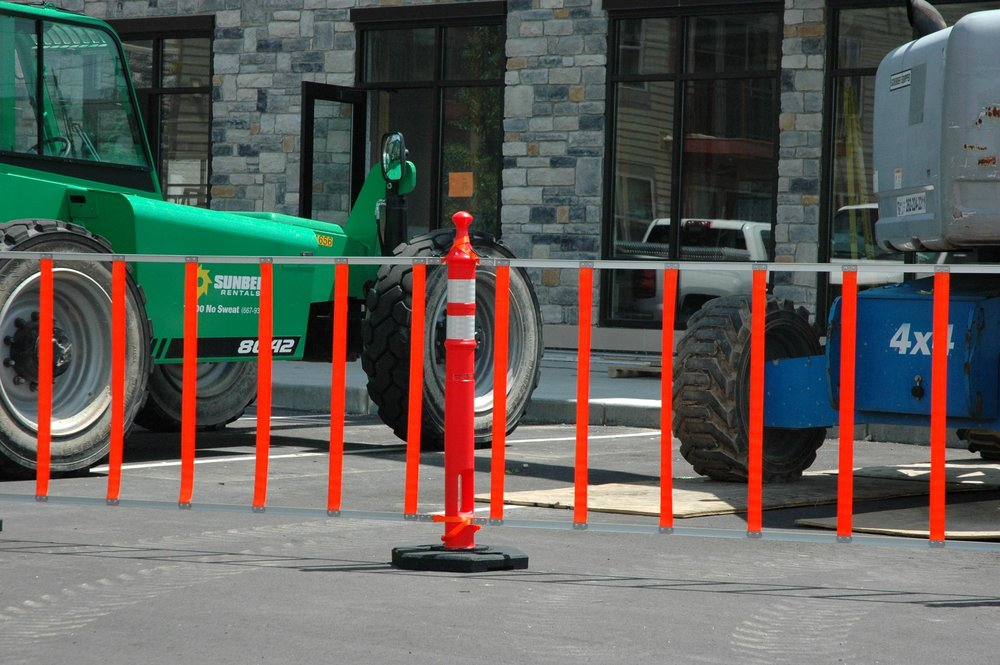 R.U.F. Roll-Up-Fence is an innovative solution to protect dangerous work sites and pedestrian traffic zones. Image courtesy of Omega Industrial Products ( www.omegaindl.com ).