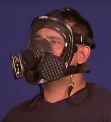 This respirator filters the air.