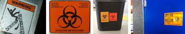 Examples of workplace warning safety signs and tags.