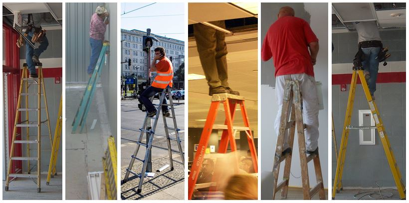 Here are just a few of the ways employees should NOT USE a step ladder.