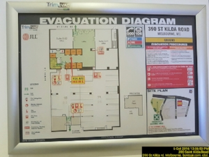 Evacuation maps, like this one, should be posted throughout the workplace and visible to employees.