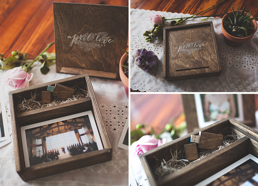Keepsake wooden USB and print box. USB contains all of your edited wedding images and box holds your favorite photos from your wedding day.