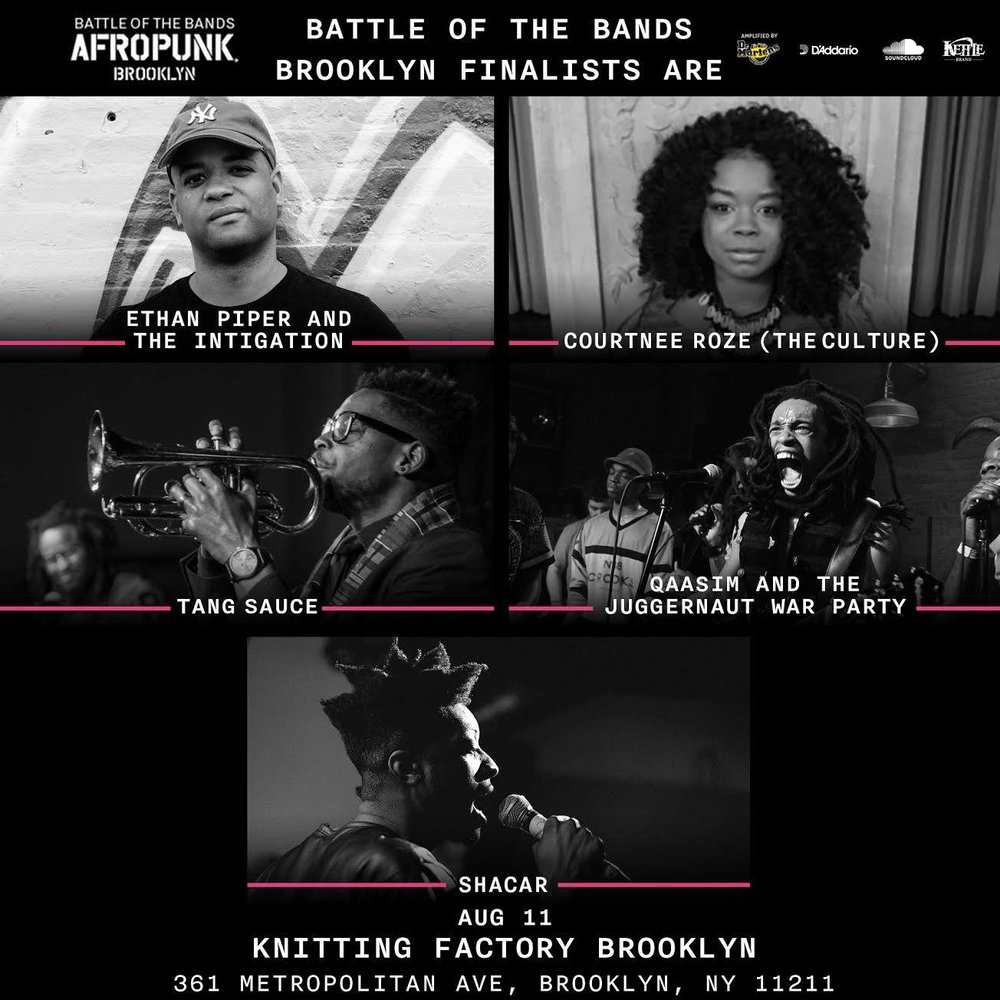 Congratulations to Shacar for making it to the last round of  AFROPUNK : Battle of the Bands!   Make sure you are there to support him at the last round on August 11th. Doors  open at 7.  Grab your $5 ticket before they are sold-out (link below)  https://goo.gl/LvkTGK