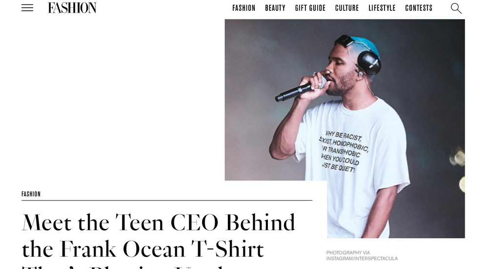 Frank Ocean At Panorama or Highsnobiety by Fashion Magazine