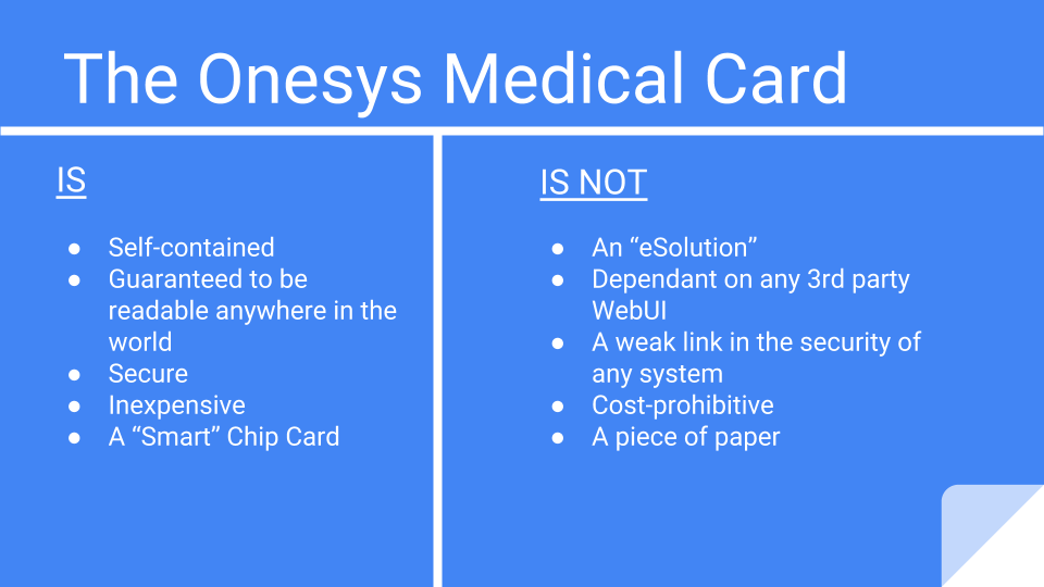 Onesys Medical Card Basics