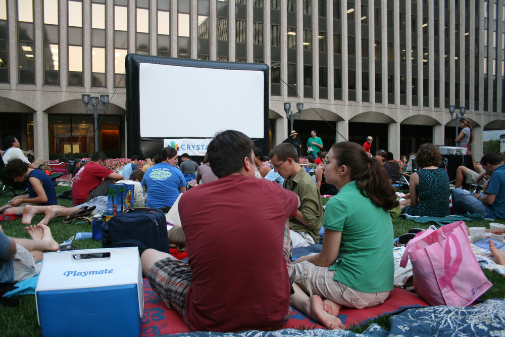 Crystal City outdoor movie screening, Arlington, Va.