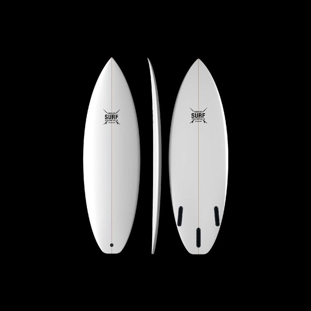 Shortboard    If you must have a single quiver board, this is it; your everyday shortboard! Low-to-moderate nose and tail rocker translate into great paddle and responsiveness. We will work with you to make this design more aggressive or forgiving depending on your individual needs. The right choice for competitive surfers and those moving into a more progressive shortboard design.       Bottom: Full Single or Single to double-concave to slight vee off the tail    Tail: Round-Squash    Fins: Tri or Tri-Quad (FCS or Futures) fins included    Price: Starts at $495.00