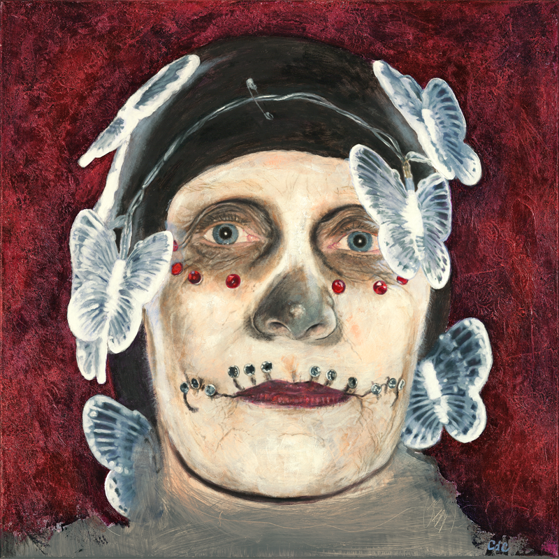 """Psyche at the All Souls Procession, mixed media and oil on canvas, 24 x 24"""" (61 x 61 cm)"""