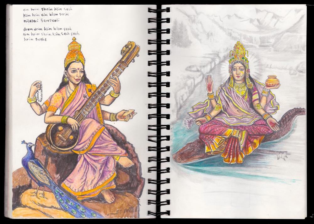Saraswati and Ganga