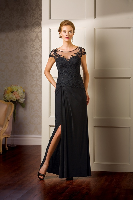 K178065 -   This sheath style mother-of-the-bride dress with an illusion boat neckline is a great choice for your special occasion. You'll be able to dance the night away in this Matte Jersey skirt with tasteful slit, and lace bodice with cap sleeves.    Colors Available - Available in 11 different color choices