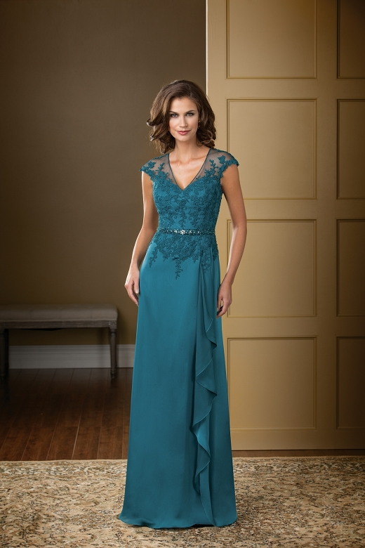 K178001 -   An elegant option for your next special occasion. A V neckline and A-line skirt come together to create a classic silhouette, and the beautiful satin face chiffon fabric is touched up with lace and beading on the bodice on sash.    Colors Available - Available in 15 different colors