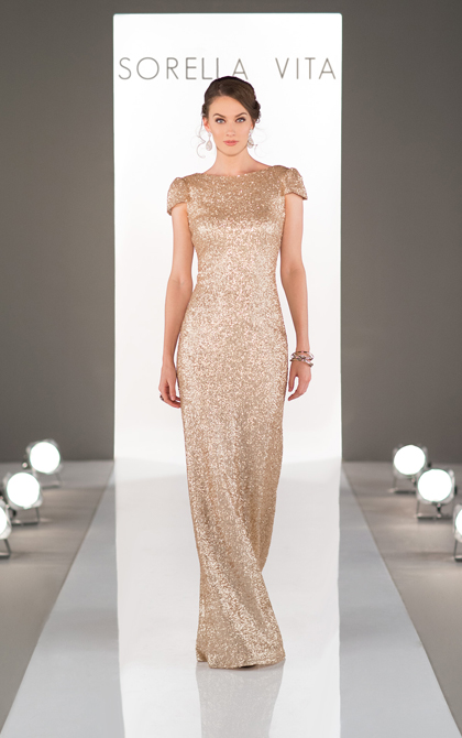 8718 -   Sorella Vita Designer Series Bridesmaid Dress: Modern Metallic; Featuring a boatneck design that highlights an elegant and classy cowl back, blending glamour with a bit of old-hollywood vintage flair. Matte sequins shine while the slight cap sleeve offers the perfect finishing touch to this classic floor-length gown.    Available in 5 colors