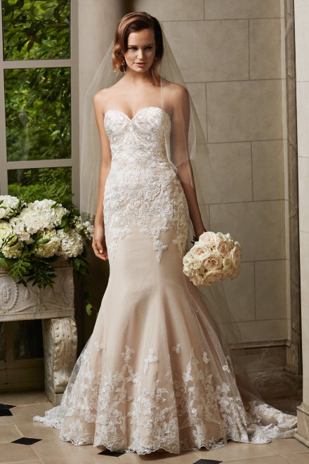 Cosette -   Elegant and romantic, this fit and flare gown in dotted net and tulle features a sweetheart neckline and thoughtfully placed lace motifs. Chapel train.    Colors available - Ivory, Oatmeal